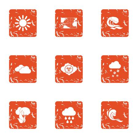 Global climate warming icons set, grunge style