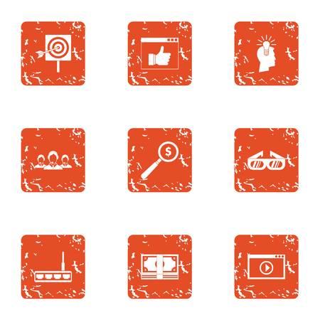 Cash target icons set, grunge style