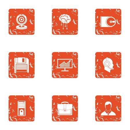 Intelligence information icons set, grunge style Illustration