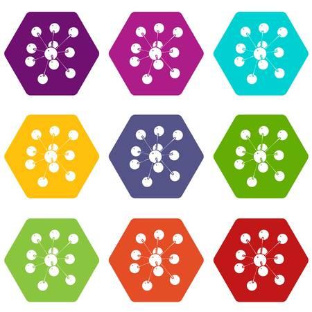 Cresols molecule icons set 9 vector