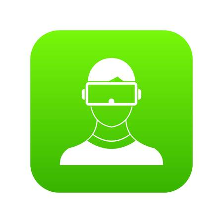 Virtual 3d reality goggles icon digital green Illustration