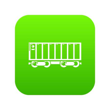 Freight train icon green vector