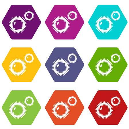 Mildew virus icons set 9 vector