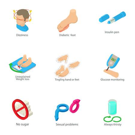 Male health icons set, cartoon style