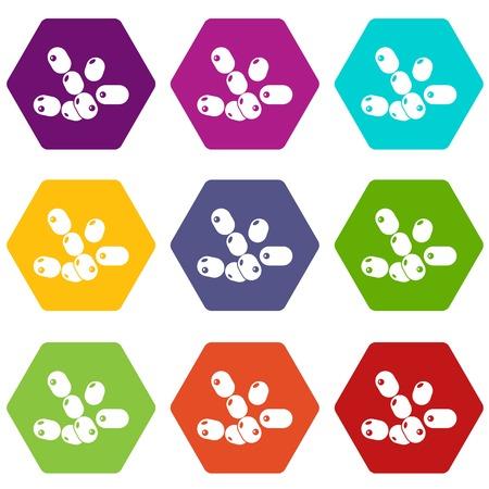 Coccus bacilli icons set 9 vector