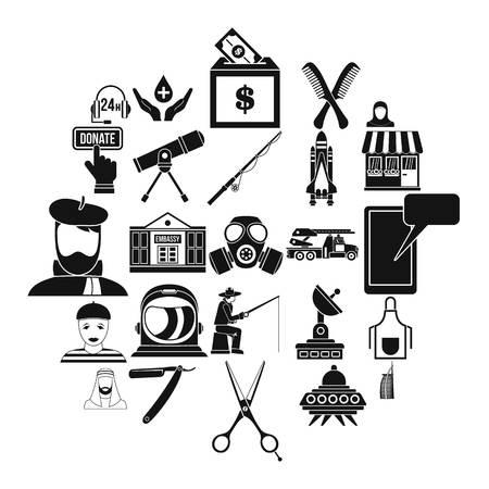 Human resources-afdeling iconen set, eenvoudige stijl Vector Illustratie