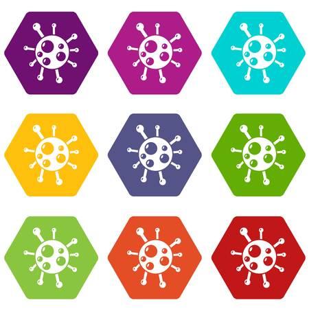Chlamydia virus icons set 9 vector
