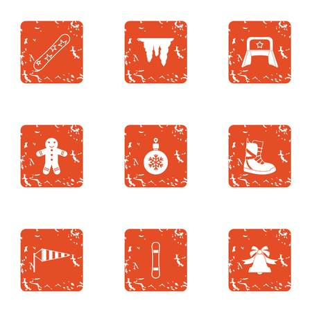 Winter flavour icons set, grunge style Illustration