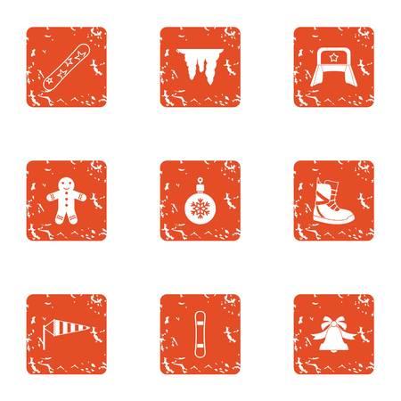 Winter flavour icons set, grunge style Ilustração
