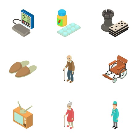 Senility icons set. Isometric set of 9 senility vector icons for web isolated on white background Ilustracja