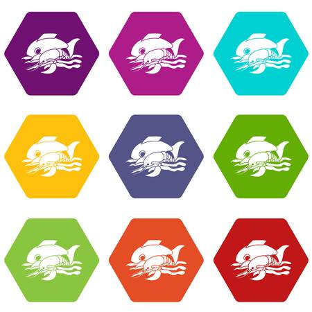 Sea food icons 9 set coloful isolated on white for web