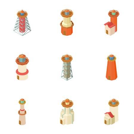 Lighthouse icons set. Cartoon set of 9 lighthouse vector icons for web isolated on white background Illustration