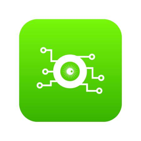 Cyber eye symbol icon digital green for any design isolated on white vector illustration