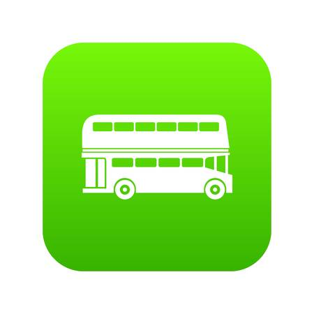 Double decker bus icon digital green for any design isolated on white vector illustration