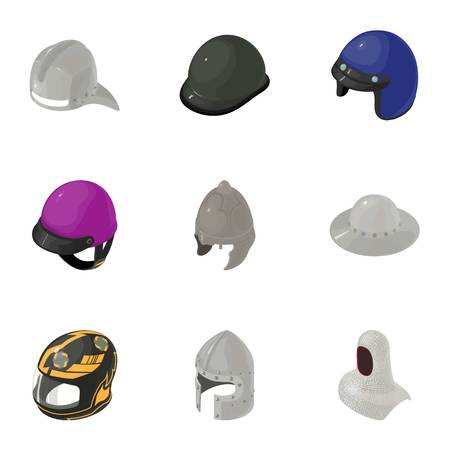Helmet icons set. Isometric set of 9 helmet vector icons for web isolated on white background Illustration