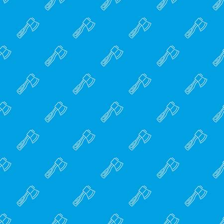 Axe with wooden handle pattern vector seamless blue repeat for any use Illustration