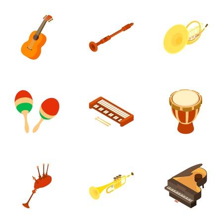 Musical instrument icons set. Isometric set of 9 musical instrument vector icons for web isolated on white background