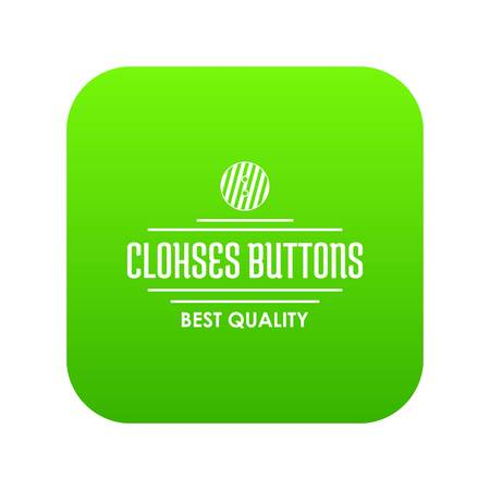 Clothes button accessory icon green vector isolated on white background