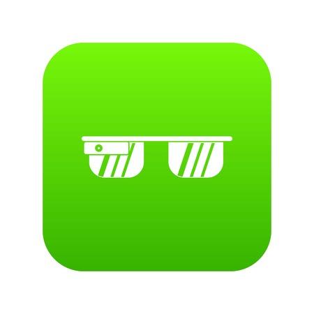 Icono de gafas inteligentes verde digital para cualquier diseño aislado en la ilustración de vector blanco