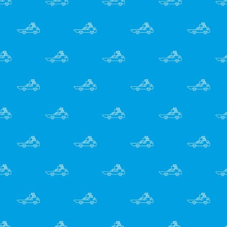 Hatchback with boxes pattern vector seamless blue repeat for any use