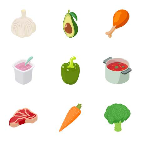 Soup icons set. Cartoon set of 9 soup vector icons for web isolated on white background
