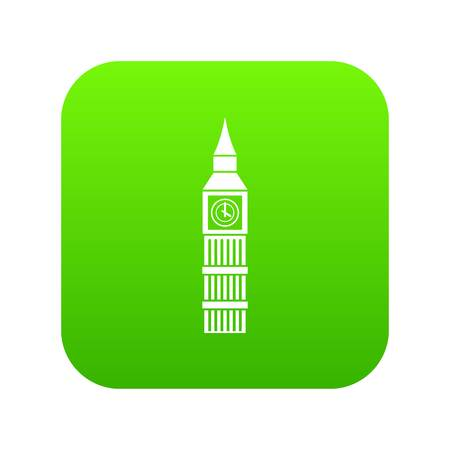 Big Ben clock icon digital green for any design isolated on white vector illustration