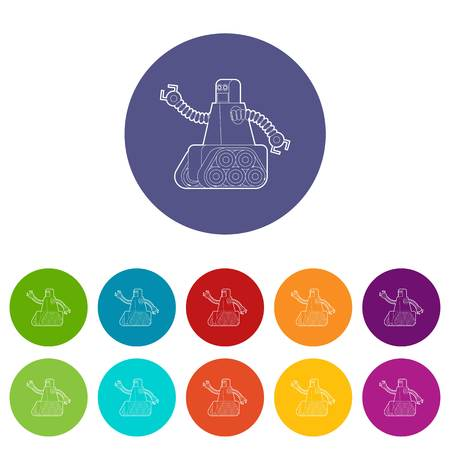 Robot with caterpillar track icons color set vector for any web design on white background