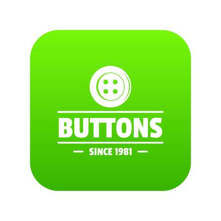 Clothes button dressmaking icon green vector isolated on white background