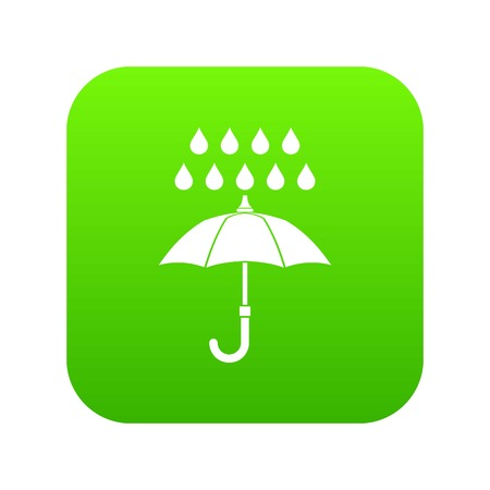 Umbrella and rain icon digital green for any design isolated on white vector illustration