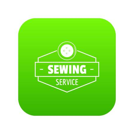 Sewing service icon green vector isolated on white background