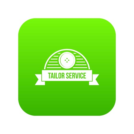 Tailor service icon green vector isolated on white background
