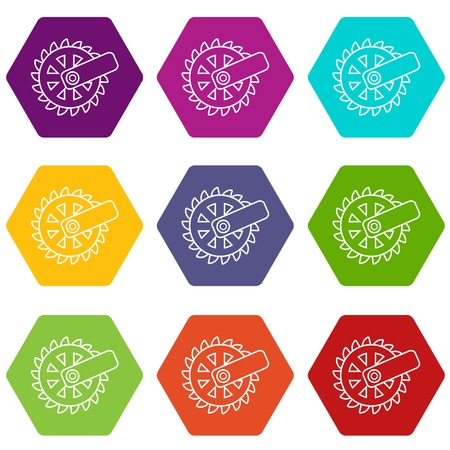 Mining cutting wheel icons 9 set coloful isolated on white for web