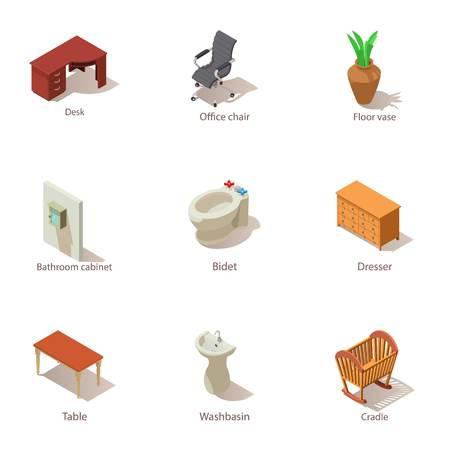 Inside the house icons set. Isometric set of 9 inside the house vector icons for web isolated on white background
