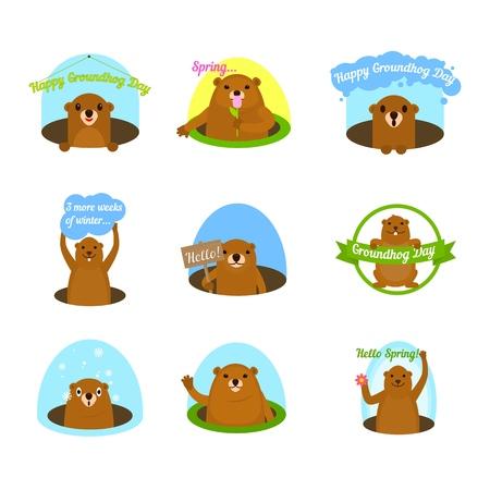 Groundhog day happy logo icons set. Flat illustration of 16 Groundhog day happy logo vector icons for web Illustration