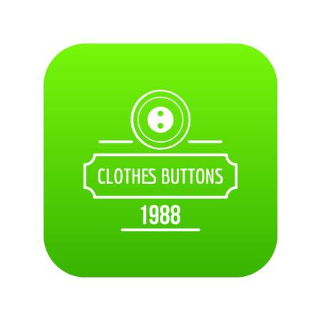 Clothes button service icon green vector isolated on white background
