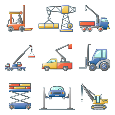 Lifting machine equipment icons set. Cartoon illustration of 9 lifting machine equipment cargo vector icons for web Иллюстрация