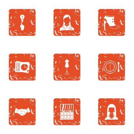 Good deed icons set. Grunge set of 9 good deed vector icons for web isolated on white background  イラスト・ベクター素材