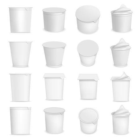 Yogurt cup box dessert packaging mockup set. Realistic illustration of 16 yogurt cup box dessert packaging mockups for web