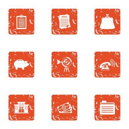 Cumulative certificate icons set. Grunge set of 9 cumulative certificate vector icons for web isolated on white background Illustration