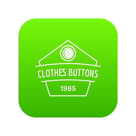 Clothes button dress icon green vector isolated on white background 일러스트
