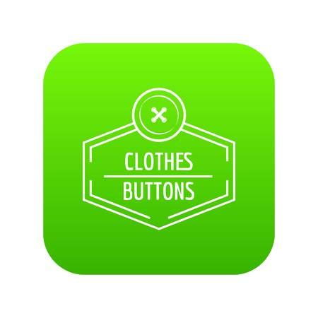 Clothes button craft icon green vector