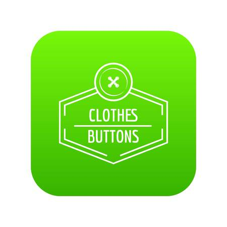 Clothes button craft icon green vector