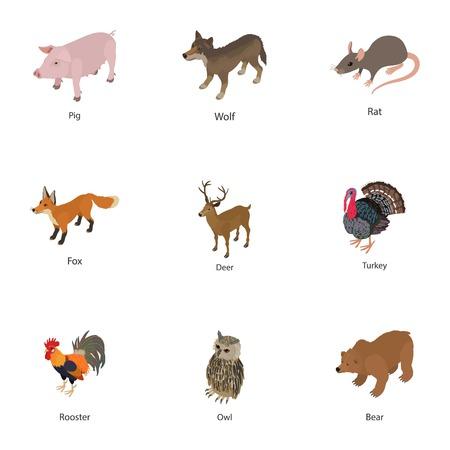 Domesticated animal icons set, isometric style