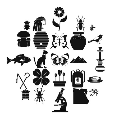 Bug icons set, simple style