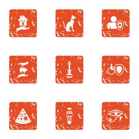 Medical insurance policy icons set, grunge style