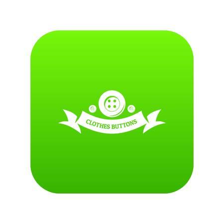 Clothes button fabric icon green vector 일러스트