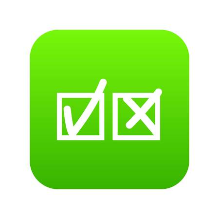 Checkmark to accept and refusal icon digital green