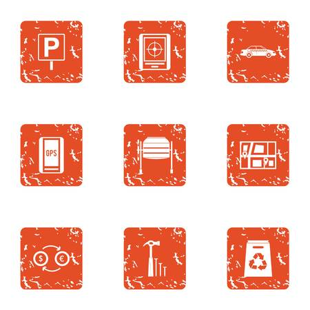 Free parking icons set, grunge style