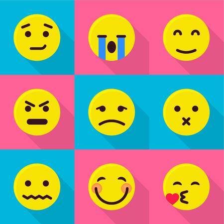 Emotional icons set, flat style