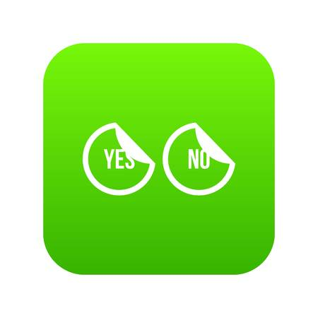 Yes and no buttons icon digital green